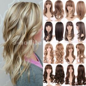 Natural Hair Wig Long Curly Straight Ombre Wigs Women Ladies Cosplay ... 3ee130f90