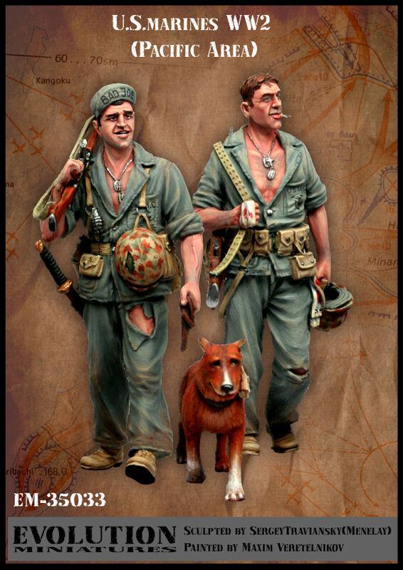 Evolution 1 35 EM-35033 WWII US Marines (Set 6) (Pacific Area) - 2 Figures & Dog