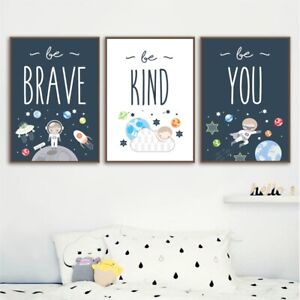 Space Themed Nordic Poster Prints Baby Boy Gift Kids Wall Decor Canvas Painting Ebay