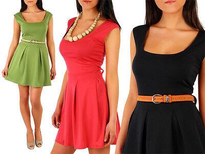 Classic Summer New Dress with Pleats Retro Scoop Neck Sleeveless Sizes 8-12 FA01