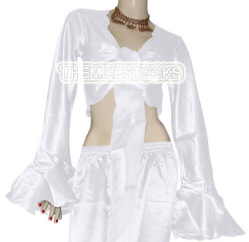 TMS Satin Ruffle Wrap Top Tie Belly Dance Choli Gypsy Tribal White 30 Color