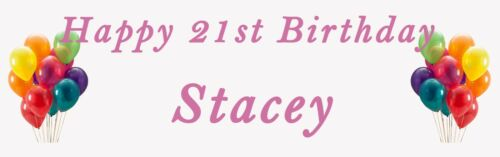 2 PERSONALISED HAPPY BIRTHDAY ANY AGE BANNERS CELEBRATE BOY OR GIRL BALLOON 21st