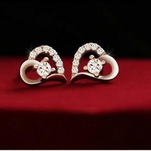 Women-Gift-Fashion-Jewelry-Silver-Plated-Crystal-Ear-Stud-Heart-Earrings