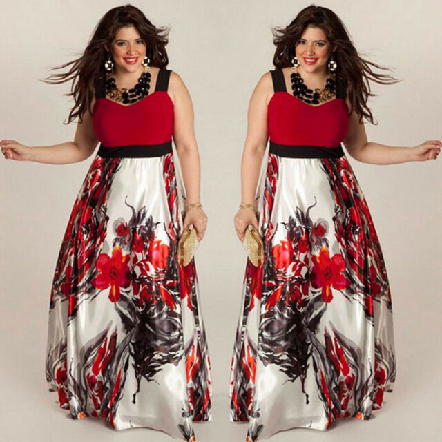 Plus Size Women Floral Printed Long Evening Party Prom Gown Formal Maxi Dress