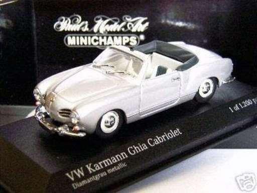 RARE Minichamps VW Karmann Ghia Cabriolet en première question argent métallique 1 43