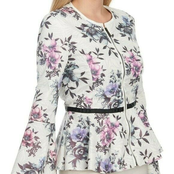 BAGATELLE White Floral Peplum Waist Perforated Faux Leather Bell Sleeve Zip Sz L