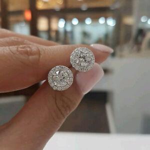 2-00CT-Round-Cut-D-VVS1-Diamond-Halo-Stud-Earrings-14k-White-Gold-Finish