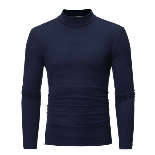 Men Cotton Slim Fit Basic T-Shirt Blouse Mock Neck Tee Shirt Long Sleeve Casual