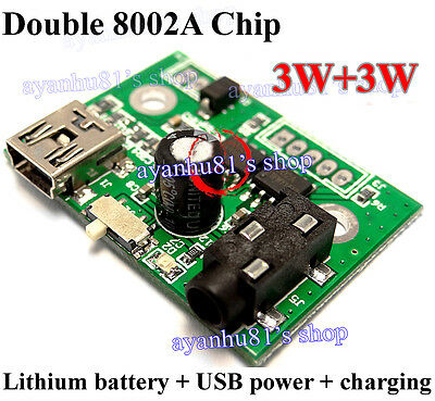 Mini 3W+3W Class AB Stereo Power Amplifier Board 5V USB / lithium battery Power
