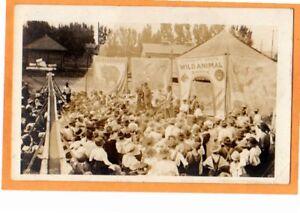 Real-Photo-Postcard-RPPC-Circus-Wild-Animal-Sideshow-and-Crowd