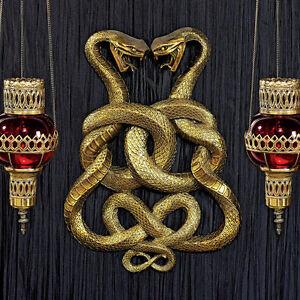 Egyptian Duel Cobras Wall Sculpture Mystic Symbol Snake Plaque NEW