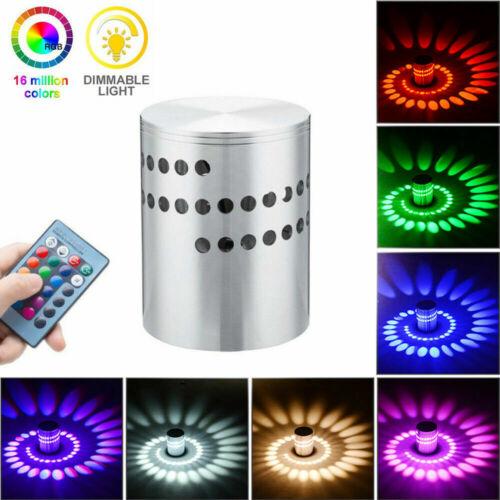 LED Wall Light RGB Spiral Wall Lamp Fixture Sconce KTV Disco Bar Decor 3W