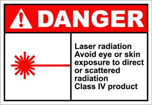 Laser Radiation Class Iv Product Danger OSHA ANSI Aluminum METAL Sign