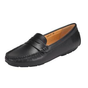 Womens-Black-Loafer-Shoes-Flat-Vegan-Leather-SlipOn-Comfortable-Driving-Moccasin