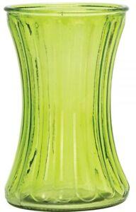 Green-Glass-Flower-Vase-Wide-Mouth-Flower-Vase-Waisted-Design-Striped-Design