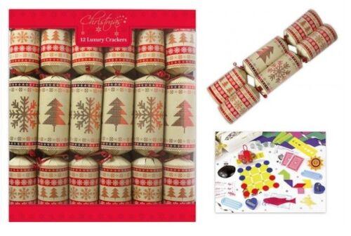 Pack Of 12 Luxury 14 Inch Tableware Dinner Crackers Red Kraft Nordic Flake Print