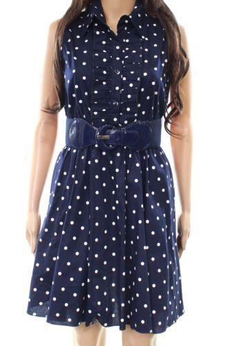 b455cc9e343 NEW Bailey Blue White Polka Dot Ruffle Poof Fit and Flare Shirt Dress sz M