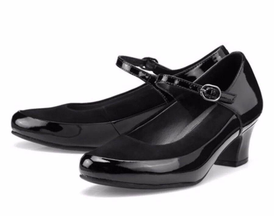 Mujer Más Caliente Negro Patente Zapatos Zara tacón medio Mary Mary Mary Jane Standard Fit Talla UK 4  despacho de tienda