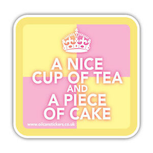 KEEP CALM AND HAVE A BATTENBURG CAKE STICKER vintage cupcake 85mm x 85mm