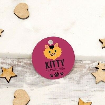 Obbiettivo Personalised Pet Tags Incise Gatto Id Collare Per Cane 25mm Paw Print Su Misura-