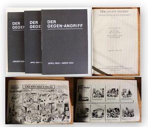 Der-Gegen-Angriff-Wochenschrift-1933-1936-3-Bde-Reprint-1982-Geschichte-xy