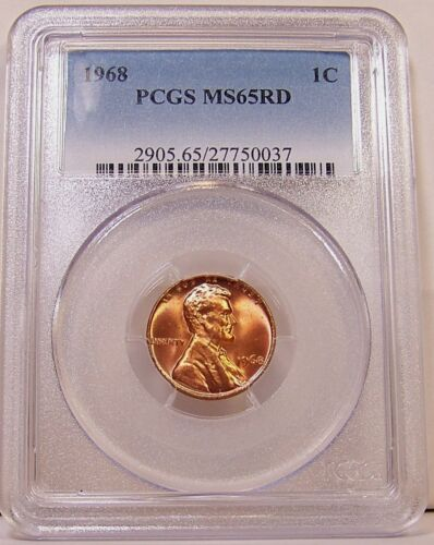 Certified 1968 Lincoln Memorial Cent in PCGS MS65RD MS 65 RD or MS-65 Red