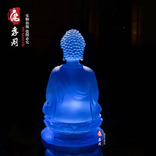Tibetan Buddhism Blue glass Buddha Glaze Glass Buddha statue