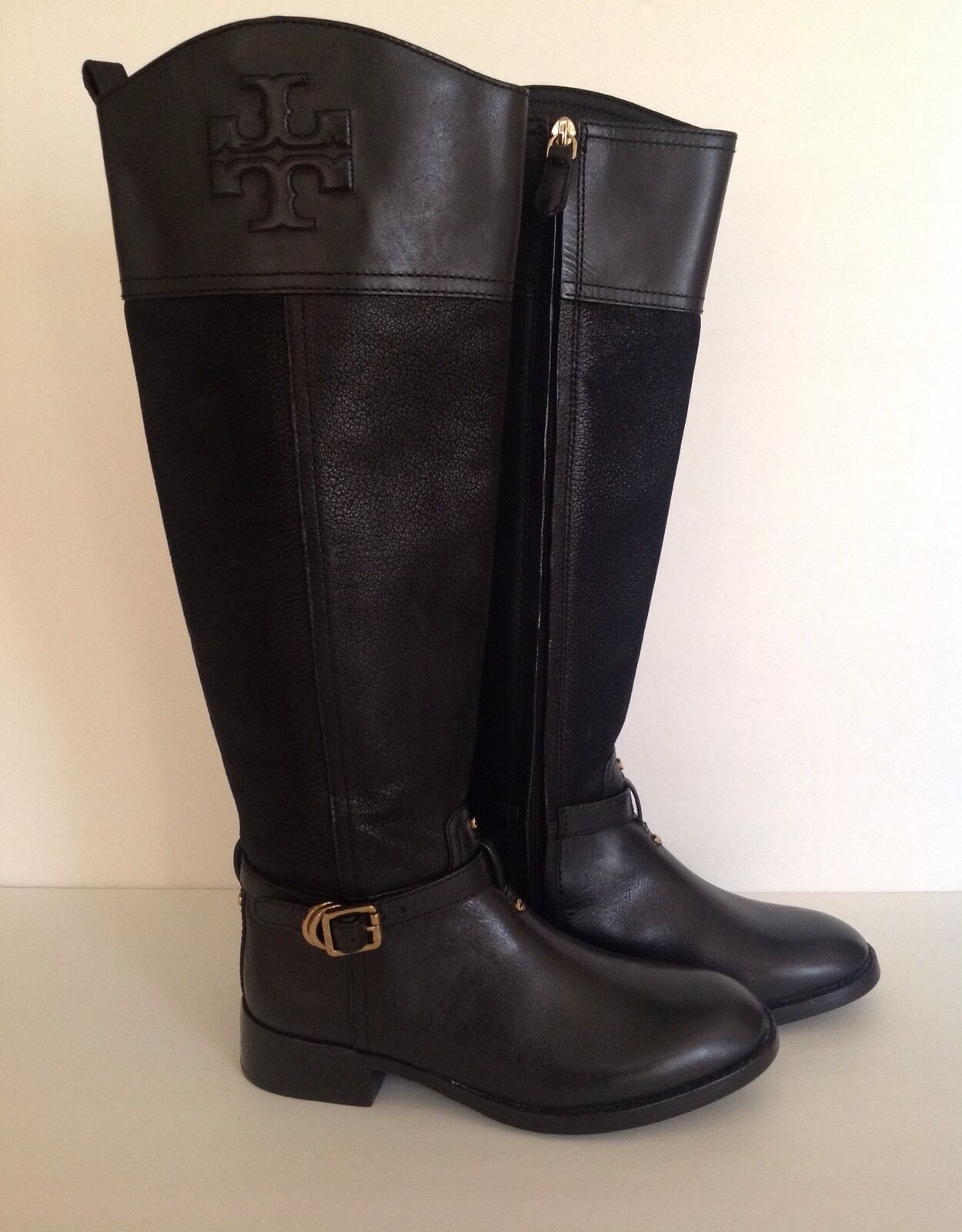 Tory Burch 'Simone' Riding Boots Women's Black Leather Size 4 M