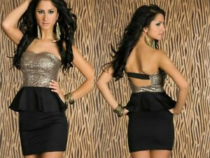 Sz-8-10-Black-Gold-Sequin-Strapless-Peplum-Sexy-Formal-Cocktail-Party-Club-Dress