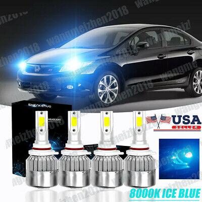 9005 LED Headlight High Beam 8000K Ice Blue 55W For 1997-2004 Chevrolet Corvette