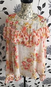 BNWT-M-amp-S-Limited-Edition-Floral-Chiffon-Summer-Top-Blouse-Size-6-UK