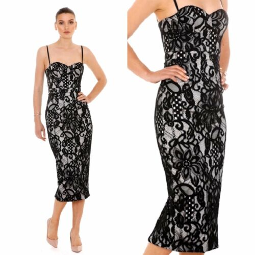 Giselle And Sophia Lace Cocktail Party Midi Ivory or Black Corset Pencil Dress