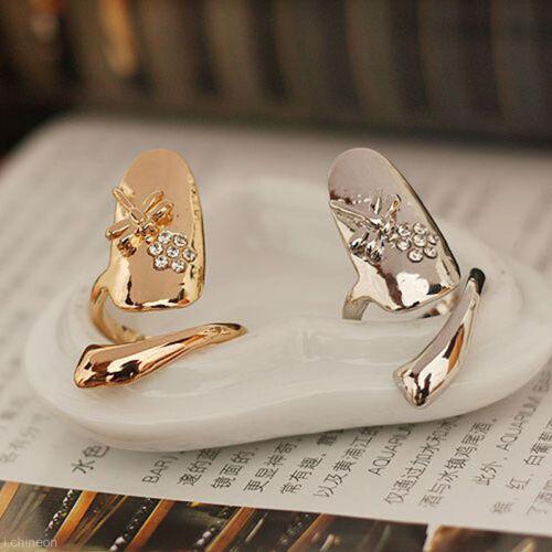 New Wedding Dragonfly Flower Design Jewelry Rhinestone Finger Tip Nail Ring s//