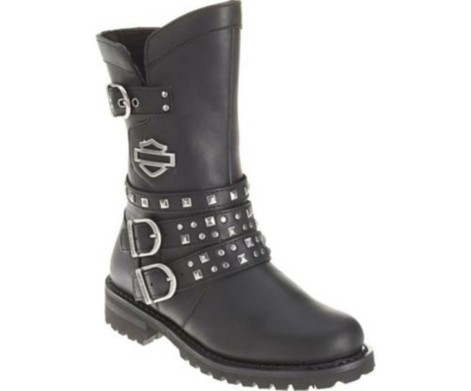 Grandes zapatos con descuento Harley Davidson Adrian Ladies Biker Boots Black Leather Triple Buckle Motorbike