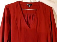 Womens Blouse Top Burgundy Maroon Size Large L Long Sleeve w Ties Flowing V Neck