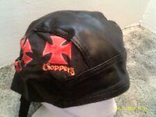 Red Maltese Cross Choppers  Faux Leather  Doo Rag / Skull cap