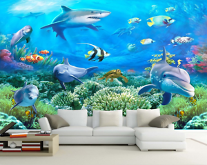3D Dolphin Fish 654 Wallpaper Murals Wall Print Wallpaper Mural AJ WALL AU Lemon