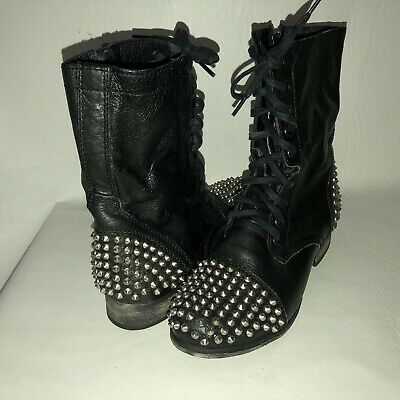 Steve Madden Tarney Women's 7.5 Black Leather Studded Lace Up Combat Ankle Boots | eBay