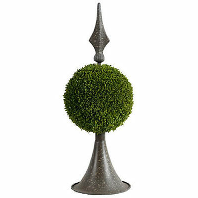 "Grass Ball Topiary w/ Metal Finial Stand 17"" - 35413"