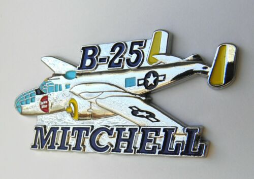 B-25 MITCHELL BOMBER AIRCRAFT USAF USMC LARGE CUT OUT PIN BADGE 2.5 INCHES