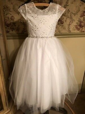 SWEETIE PIE WHITE ROSE SATIN TULLE GOWN DRESS FLOWER GIRL PAGEANT COMMUNION NWT