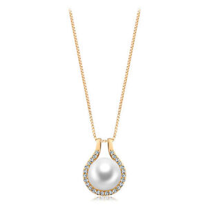 18k Gold GF solid Genuine pearl crystals pendant necklace with Swarovski element
