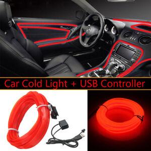 3m 5v usb red led light glow el wire string strip rope tube car image is loading 3m 5v usb red led light glow el aloadofball Images