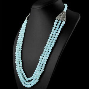 Genuine-3-Line-365-50-Cts-Earth-Mined-Blue-Chalcedony-Round-Shape-Beads-Necklace