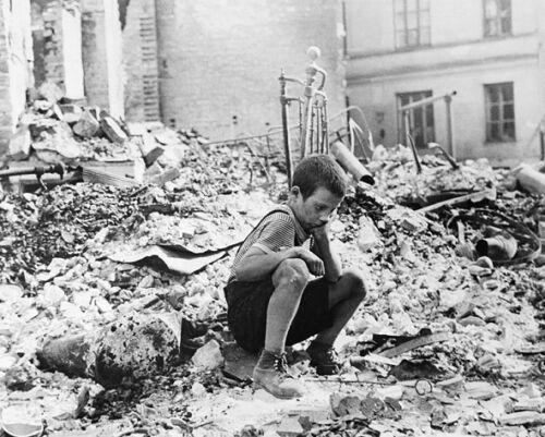 "Polish kid in Warsaw Ruins German Bombing 8/""x 10/"" World War II WW2 Photo 535"