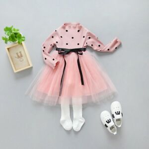 Details About Baby Girls Pink Dress Autumn Winter Long Sleeve High Neck Birthday Party Wedding
