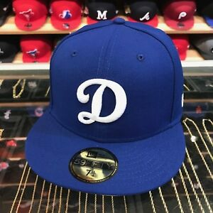 "New Era Los Angeles LA Dodgers Fitted Hat All Royal Blue/White ""D"""
