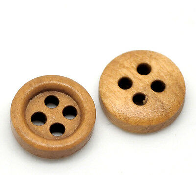 "200PCs New Coffee 4 Holes Round Wood Sewing Buttons 11mm(3/8"") Dia."
