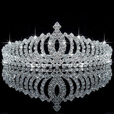 Wedding Bridal Princess Austrian Crystal Hair Accessory Tiara Crown Veil #1