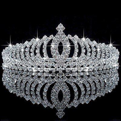 Wedding Bridal Princess Austrian Crystal Hair Accessory Tiara Crown Veil #1